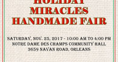 The Miracle League of Ottawa presents the 1st Annual Holiday Miracles Handmade Fair